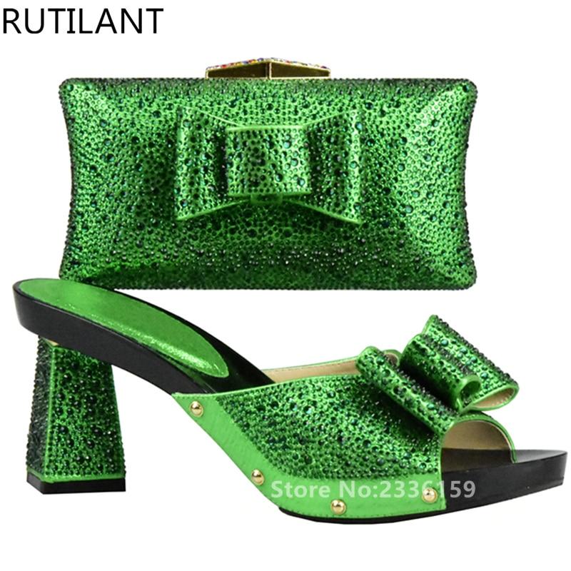 Chaussures Noir or Italiennes Dames Avec Nigérian Strass 2017 Ensembles bleu Ensemble Sac Et Africain argent Décoré vert Vert Couleur rouge rqzar6