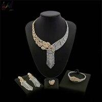 Yulaili Бесплатная доставка 2018 Новое поступление цветочный дизайн большой кулон 18 карат золото циркон ювелирный набор для женщин