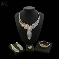 Yulaili Free Shipping 2018 New Arrival Flower Design Big Pendant 18 Carat Gold Zircon Jewelry Set For Ladies