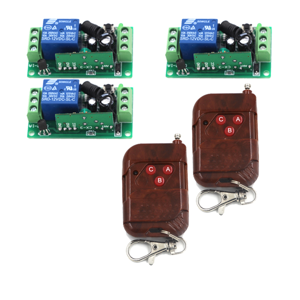 MITI- 200M DC 12V 10A 1 CH RF Wireless Remote Control Switch 2 Transmitter + 3 Receiver Remote System SKU: 5380 dc m клемма