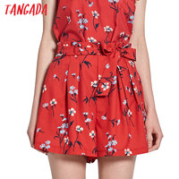 Tangada Fashion Women Floral Printed Shorts Red Pleated Waist Sashes Pockets Hot Shorts Summer Cozy Brand Shorts Female XL40