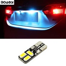BOAOSI 1x No Error T10 6LED 5630SMD LED License plate Lights For Opel Adam Corsa C Corsa C Combo Corsa D Astra H car accessories