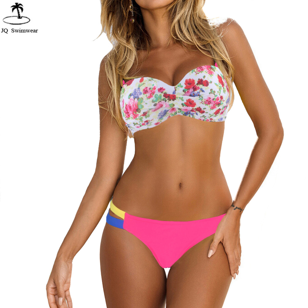 Bikini 2017 Bandeau Rose Floral Beach Wear Push Up Padded ...