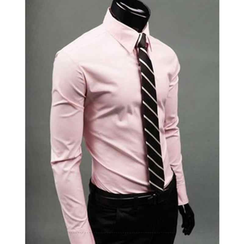 da6a6bc51 ... Gran venta de camisa de negocios de estilo británico para hombre de manga  larga para hombre