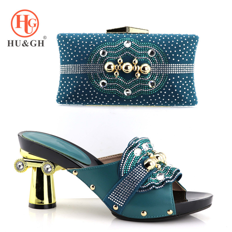 New Green Color Italian women Shoes and Bags To Match Set Decorated with Rhinestone African Wedding Party Shoes and Bag Sets цены онлайн