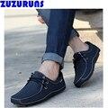 Модные мужские из натуральной кожи повседневная обувь дышащая мягкая верхняя loafer вождения повседневная обувь квартиры мужчины ультра светлый обувь 2n76