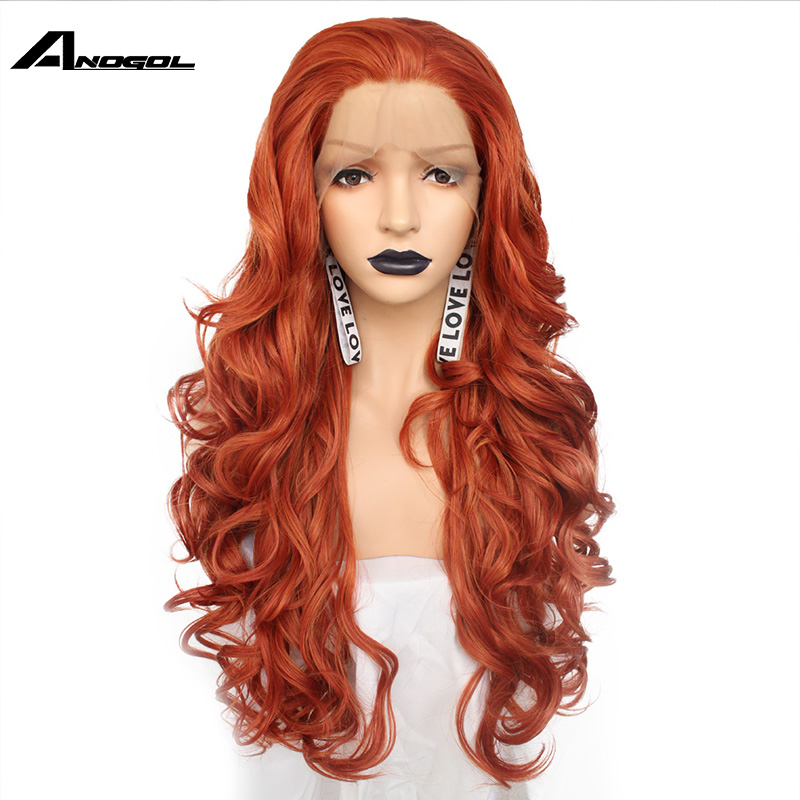 Anogol Free Part Long Body Wave Copper Red High Temperature Heat Resistant Fiber Blonde Synthetic Lace Front Wig For Women