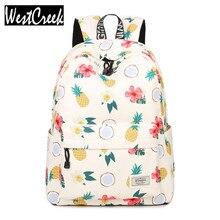 Простые качества Удобная девушка Водонепроницаемый полиэстер рюкзаки милые ананас печати студентки рюкзак сумка