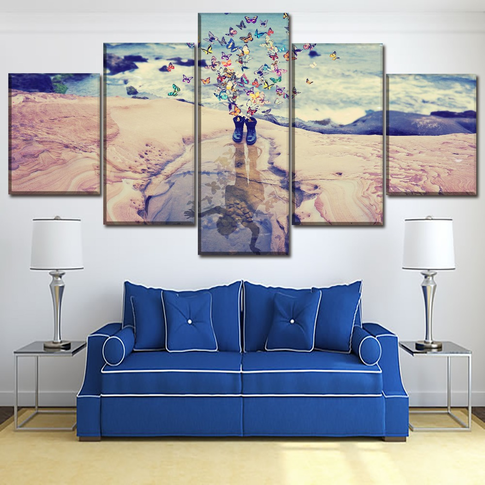 Canvas Home Decor Wall Art Print 5 Pcs Artistic Abstract Painting Boots And Butterfly Child Manipulation Water Reflection Poster in Painting Calligraphy from Home Garden