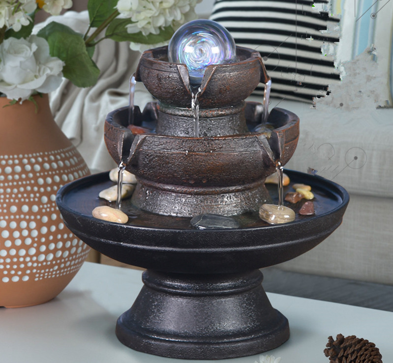 Chinese Style Water Fountain Feng Shui Ball With Led Light Home Office Decoration Desktop Furnishings Ornaments Gifts