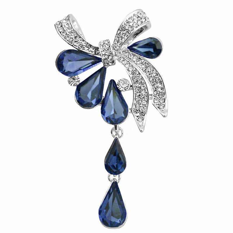 277a5951acc New Arrival 2016 ladies brooches Crystal Waterdrop Bow-knot Brooches for  women wedding and party
