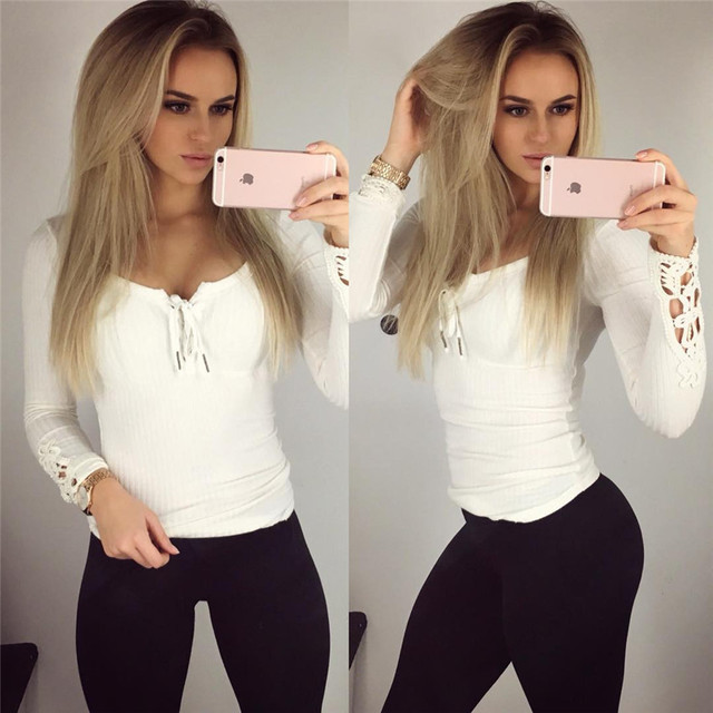 Women Sexy V Neck Lace Up T Shirt Full Sleeve Plus Size Lace Patchwork Tees Sexy Club Wear Tops Camisas Femininas FL60314