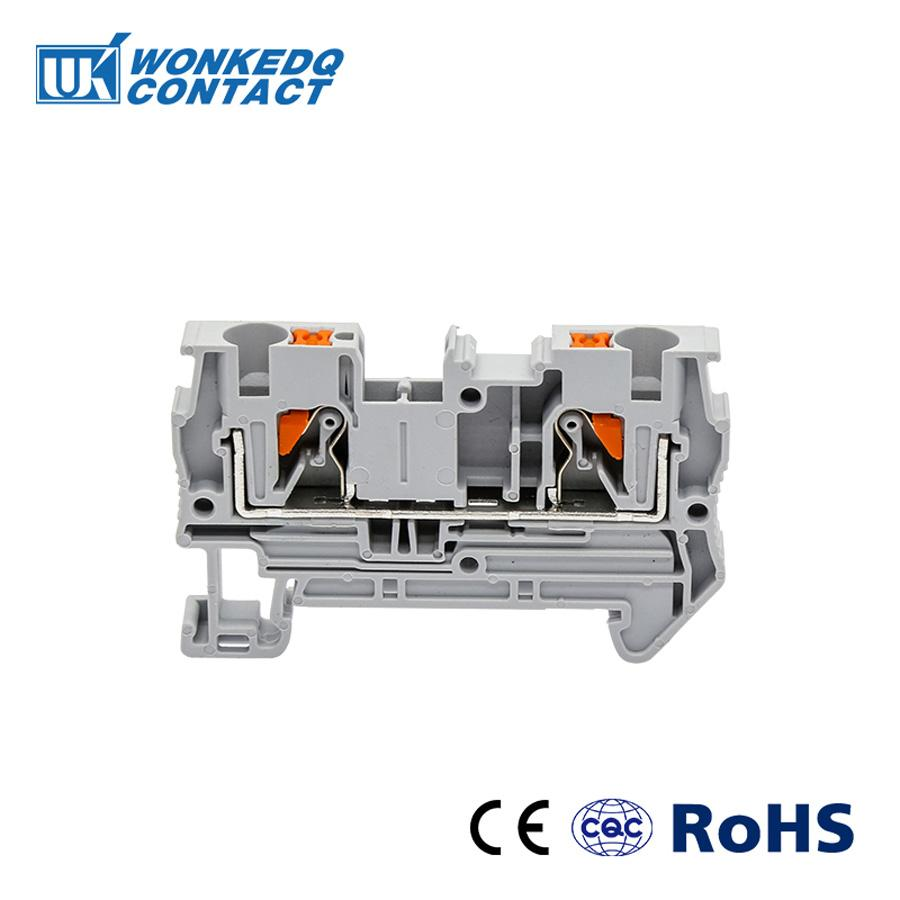10Pcs PT-4 Instead of PHOENIX CONTACT Connectors Push In Din Rail Mounted  Spring Screwless Feed Through Terminal Block PT4