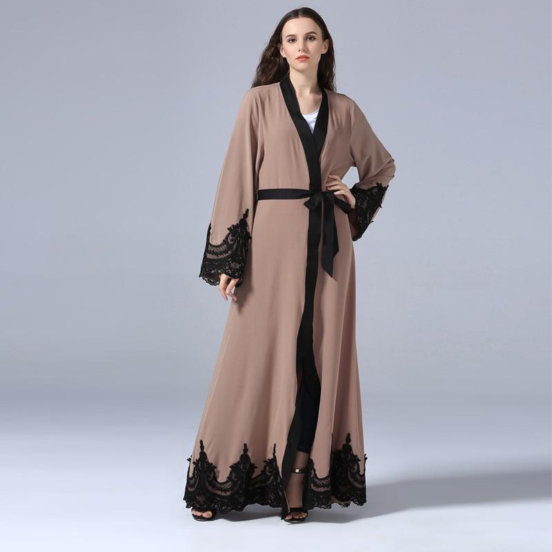 Cardigan Islamic Fashion Long Dress Elegant Robe Turkish Casual Djellaba Embroidered Lace Loose Belted Abaya Islamic Clothing