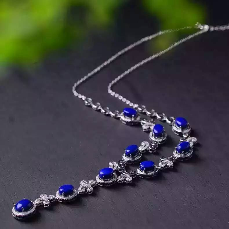 Natural lapis lazuli Necklace natural gemstone Pendant Necklace S925 silver trendy Luxury Butterfly bow women party fine JewelryNatural lapis lazuli Necklace natural gemstone Pendant Necklace S925 silver trendy Luxury Butterfly bow women party fine Jewelry