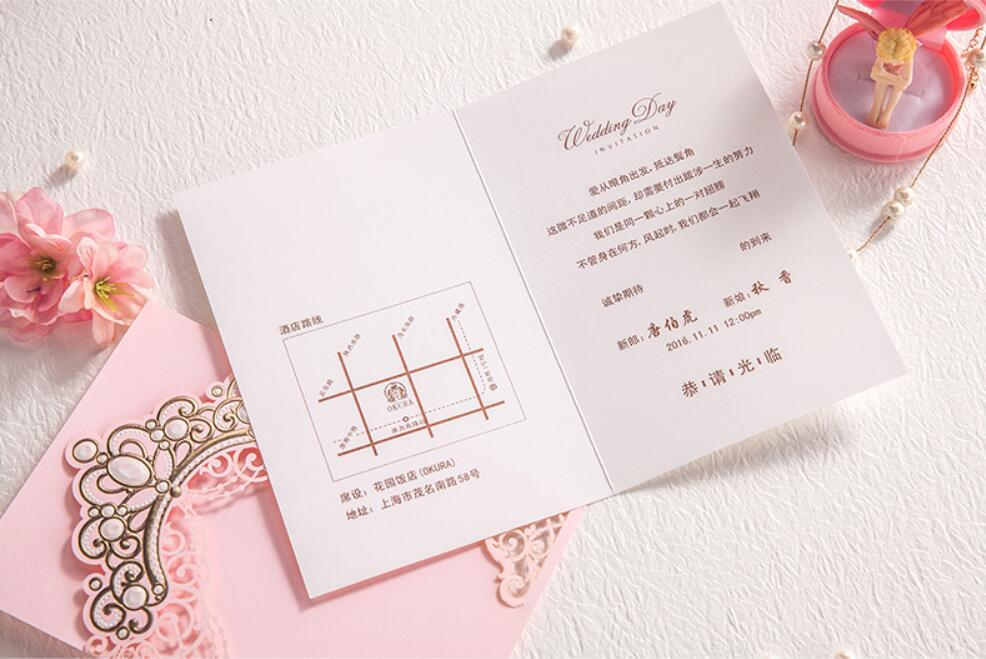 100PCS Customized laser cut bronzing crown wedding party invitation ...