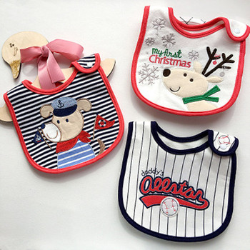 Baby Feeding Stuff Cute Cartoon Pattern Toddler Baby Waterproof Bibs Cotton Fit 0-3 Years Old Infant Burp Cloths DS19