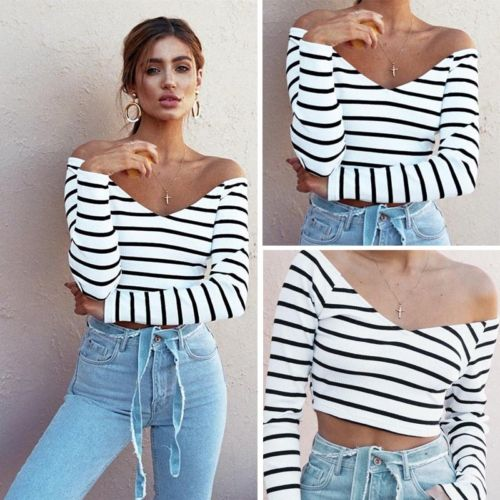 856a515c57f Women Off-Shoulder Cotton Striped Crop Top Loose Sexy V-neck Vest Blouse  Top Shirt for Young ladies