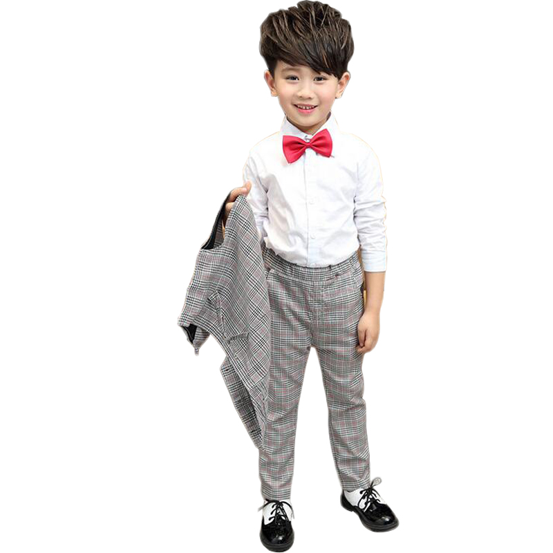 ФОТО England  New Boy's Suits Plaid Three-piece Suit Popular Trend Ropa De Ninos Varones Children's Clothing In The Spring And Autumn
