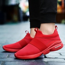 купить Men's Youth Air Mesh Red Running Shoes Breathable Outdoor Jogging Athletic Trainers Light Run Sports Sneakers дешево
