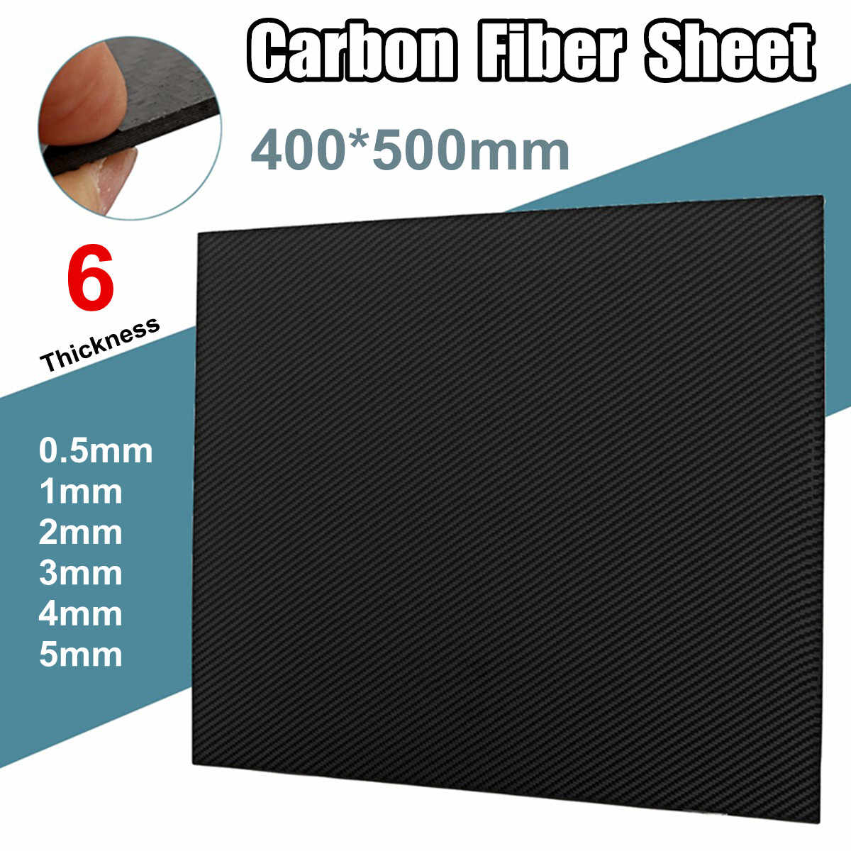 0.5mm 1mm 2mm 3mm 4mm 5mm Thickness Real Carbon Fiber Plate Panel Sheets High Composite Hardness Material For RC 400x500mm