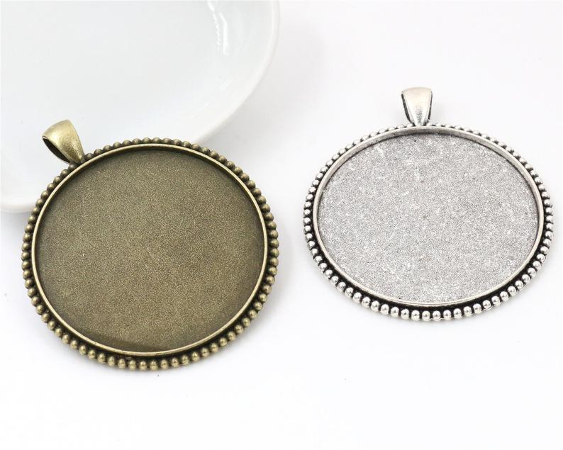 5pcs/lot 40mm Inner Size Antique Bronze And Silver Colors Plated Fashion Style Cabochon Base Setting Charms Pendant