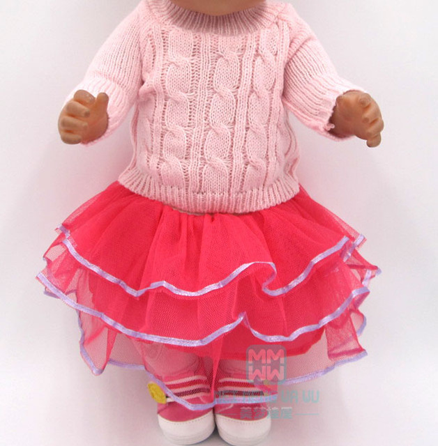 3dd272155299e Doll clothes for 43cm Baby doll accessories Pink sweater tights hat skirt  girl dress Christmas Gift
