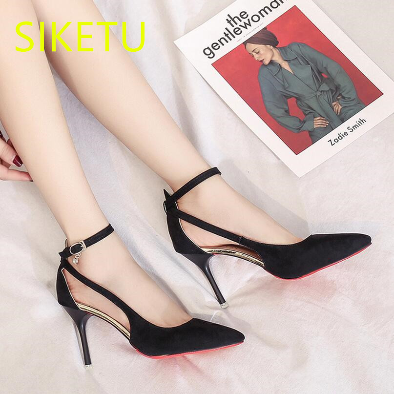 SIKETU 2017 Free shipping Spring and autumn Women shoes sex High heels shoes Wedding shoes pumps g135 Word buckle Summer sandals siketu 2017 free shipping spring and autumn women shoes fashion high heels shoes wedding shoes sex was thin pumps g230