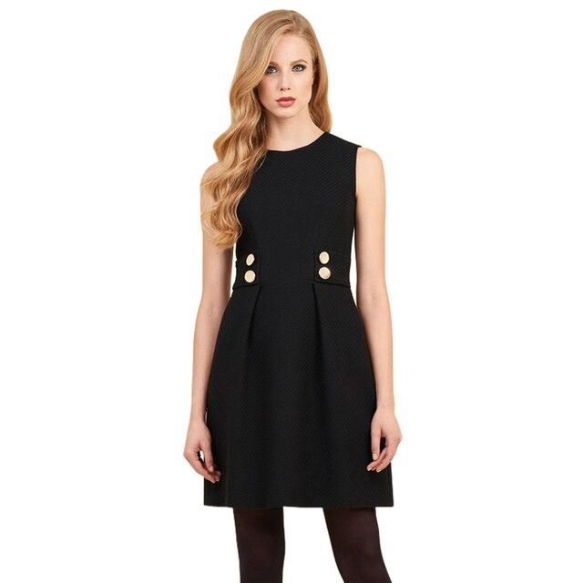 cfeaf0f352e gold buttons embellished black / red woolen dresses office lady women work  dresses sleeveless draped short dress shift dress