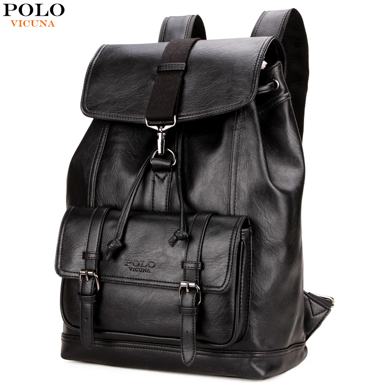 купить VICUNA POLO Personalized Anti-theft Buckle Drawstring Bag Men Backpack Trendy Leather Back Pack For Men Hot Sell sac a dos homme недорого
