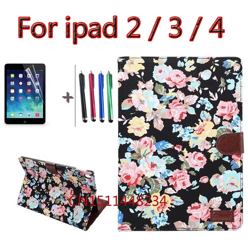 Luxury Automatic Wake-up Sleep Smart Cover PU Leather Case For iPad 2 3 4 cover child Smart Cover for iPad4 with Stylus Pen+film newest hard shell leather cover case for kobo aura h2o 6 8 inch ebook wake up and sleep screen protector stylus pen