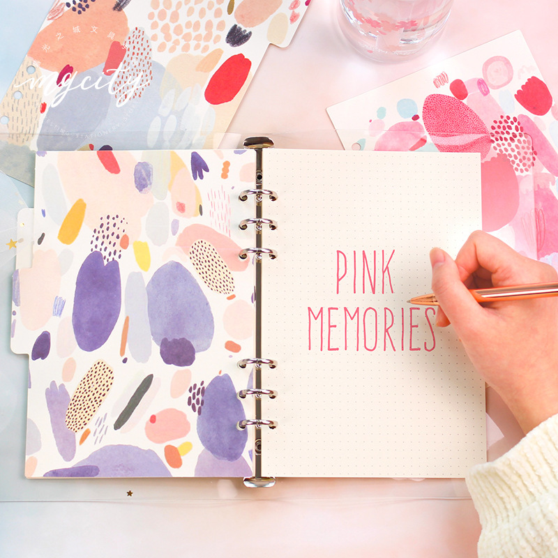 5pc/lot Retro Flower Watercolor Texture Diary Notebook Accessories A5 A6 Spiral Dividers Planner Filler Paper Matching Doki Book