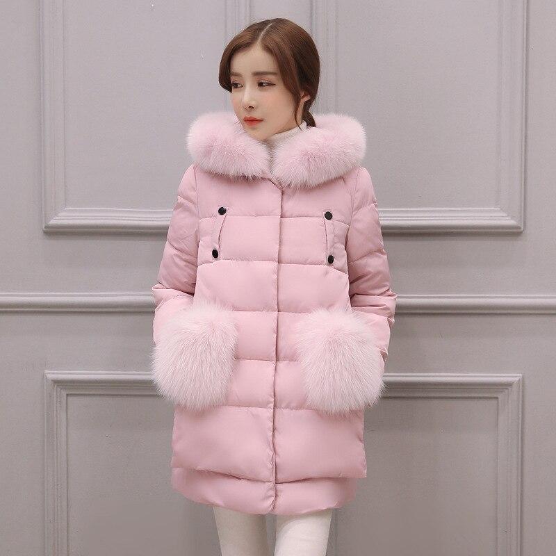 2016 Ceket Parka kadın Kış Ceket Kore Kürk Yaka Şapka Kadın uzun Aşağı Ceket Pamuk Kalınlaşmak İnce Pembe Sıcak Coat 4 Renkler