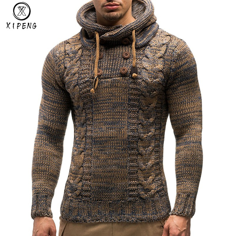 Men's Sweater 2019 Autumn Winter Pullovers Knitted SweatCoat Hooded Sweaters Jacket Outwear Casual Slim Fit Turtleneck Top