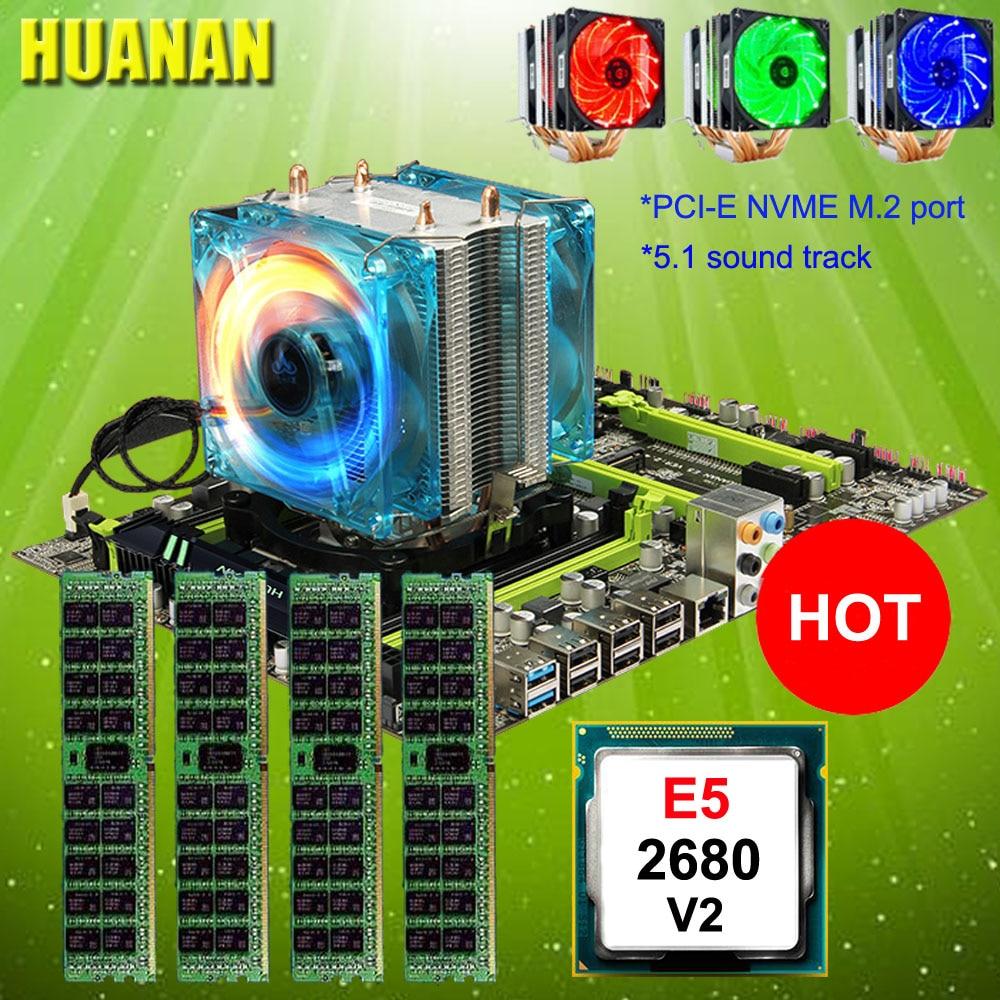 Ordinateur DIY HUANAN ZHI X79 carte mère avec M.2 fente discount mobo avec CPU Xeon E5 2680 V2 cooler RAM 64g (4*16g) 1600 RECC