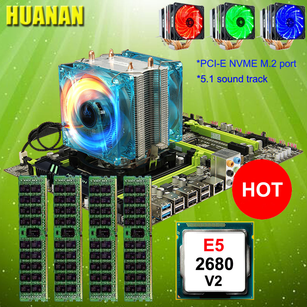Perfect computer HUANAN X79 motherboard CPU RAM combos CPU Xeon E5 2680 V2 with CPU cooler RAM 64G(4*16G) 1600 DDR3 REG ECC