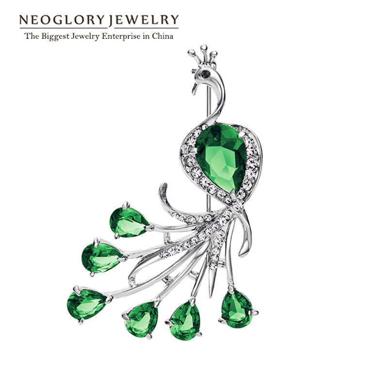 Neoglory CZ Stone Green Zircon Czech Rhinestone Animal Peacock Style Fashion Brooch For Women 2017 New Arrival Jewelry Present