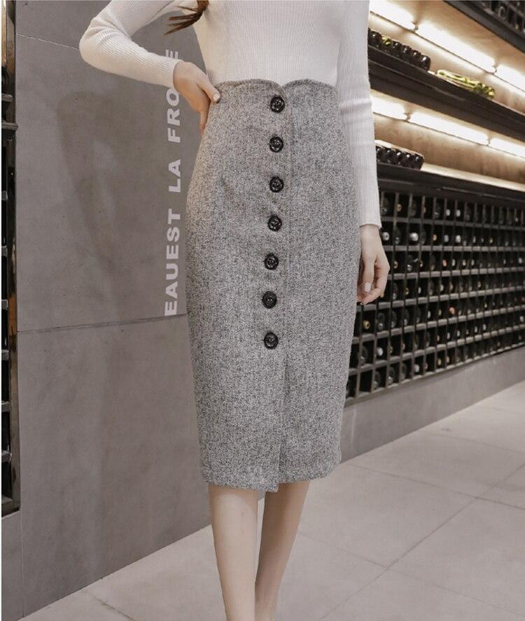 Neophil High Waist Woolen Button Pencil Midi Skirts Office Ladies Office Elegant Grey 19 Winter Wool Wrap Skirts Faldas S1738 6