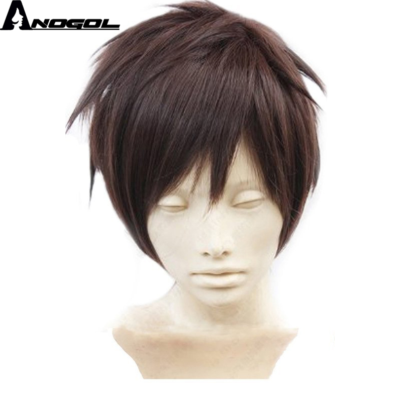 Anogol High Temperature Fiber Attack On Short Straight Titan Natural Dark Brown Synthetic Cosplay Wig For Halloween
