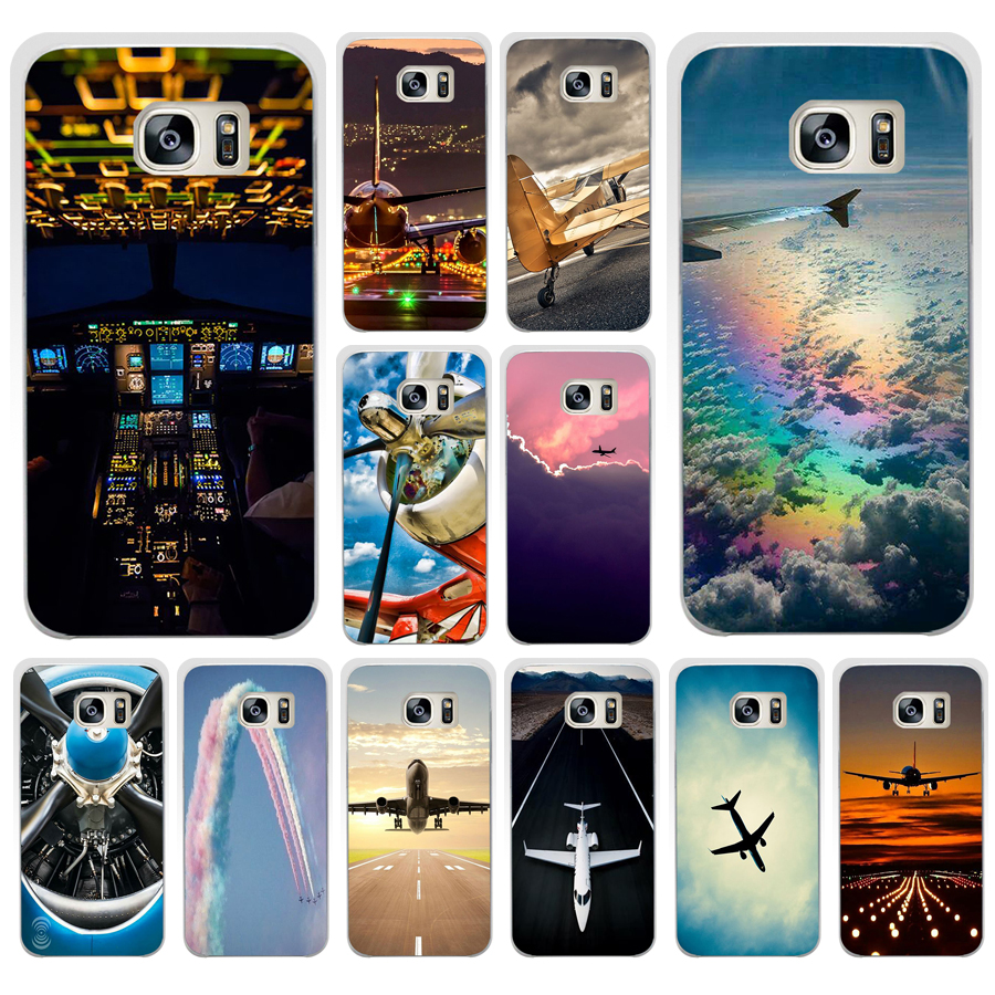 US $1 22 6% OFF|013AA Aircraft Airplane fly travel cloud Hard Transparent  Cover Case for Samsung Galaxy S4 S5 Mini S6 S6 S8 S9 edge plus S7 Edge-in