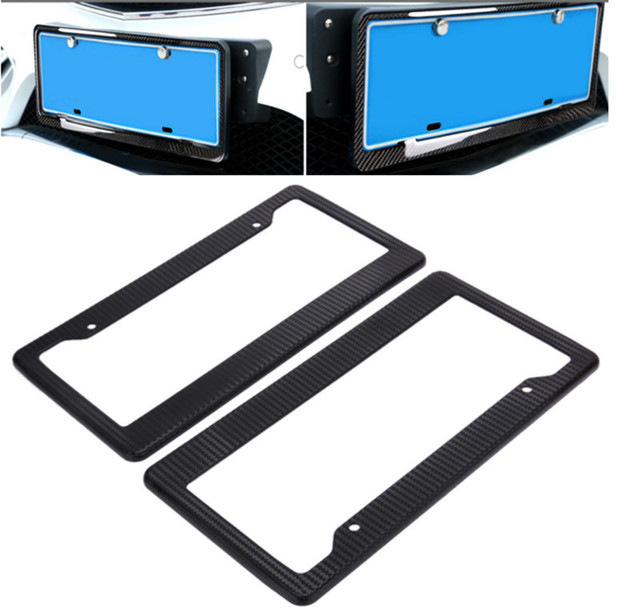 2Pcs USA Canada Carbon Fiber Pattern ABS Car License Plate Frames ...