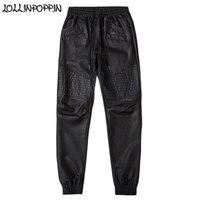 Men Faux Leather Biker Pants Drawstring Elastic Waist Black Jogger Pants Mens Slim Motorcycle PU Pants