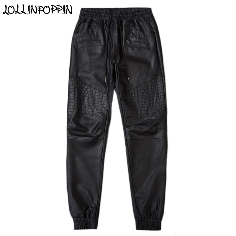 Men Faux Leather Biker Pants Drawstring Elastic Waist Black Jogger Pants Mens Slim Motorcycle PU Pants