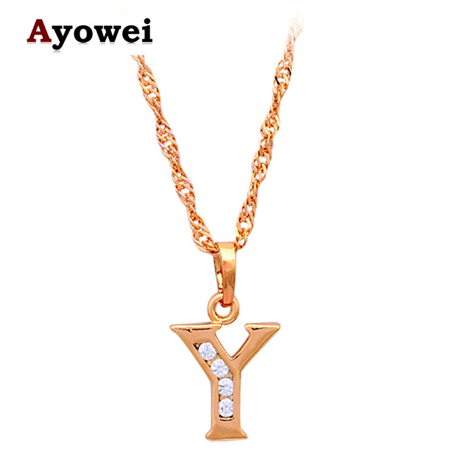 Ayowei 26 Letters Y Design K Yellow Gold Tone Crystal Necklaces Pendants Fashion Jewelry Ln157a
