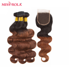 Miss Rola Hair Pre-colord Indian Body Wave Hair Weaving 3 Bundles With Closure #T1B/33 Color  Human Non-Remy Hair Extension