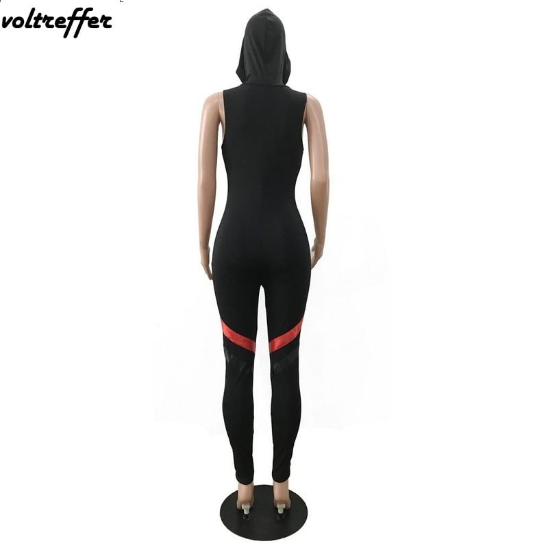 Black Hooded Combinaison Femme Zipper Bandage Rompers Womens Jumpsuit Sexy Body Femme Leotard Summer Tank 2018 bodysuit Casual