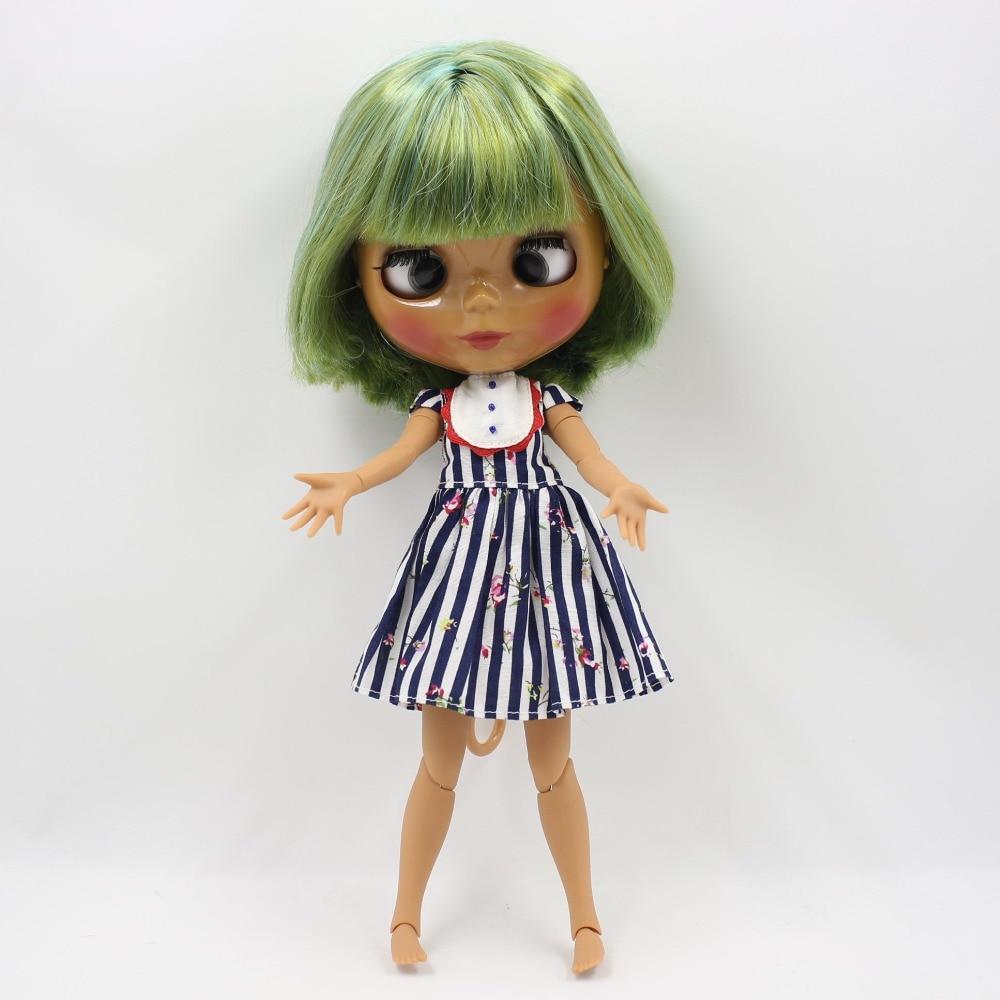 Free shipping blyth doll icy licca body 130BL4298/4003 Green mix yellow hair cross eyes dark skin joint body 1/6 30cm gift toy цена и фото