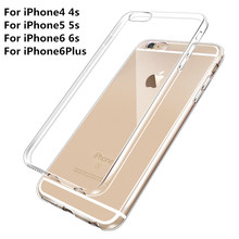Ultra Thin Soft TPU Gel Original Transparent Case For iPhone 4 4S 5 5S 6 6 Plus Crystal Clear Silicon Phone Bags