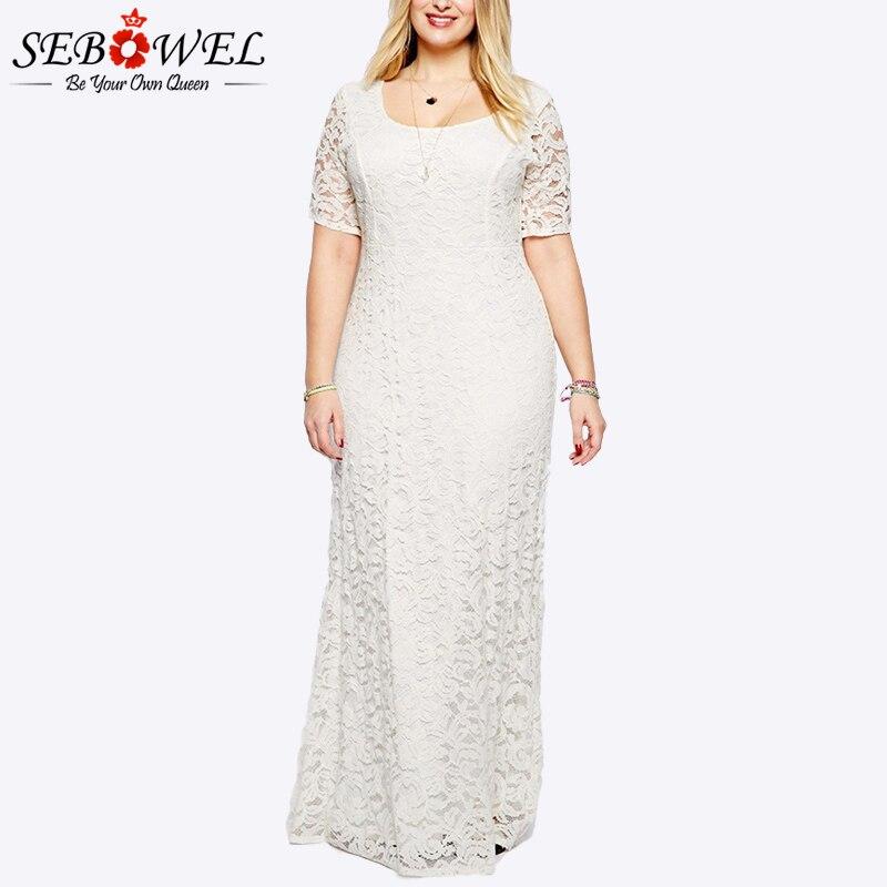 SEBOWEL grande taille élégante dentelle blanche Maxi robe de soirée femmes à manches courtes formelle longue dentelle robe de soirée grande taille noir dentelle robe