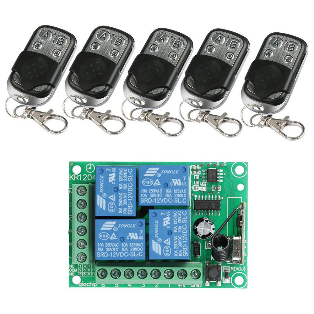 Wireless 433MHz RF DC 12V 4 Channel Remote Control Transmitter Learning Code 1527 And Relay Receiver Module Mini DIY Switch Sets dc 12v 1ch 433 mhz universal wireless remote control switch rf relay receiver module and transmitter electronic lock control diy